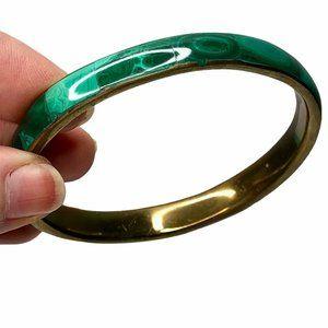 Vintage 50's Malachite Bangle Brass Bracelet